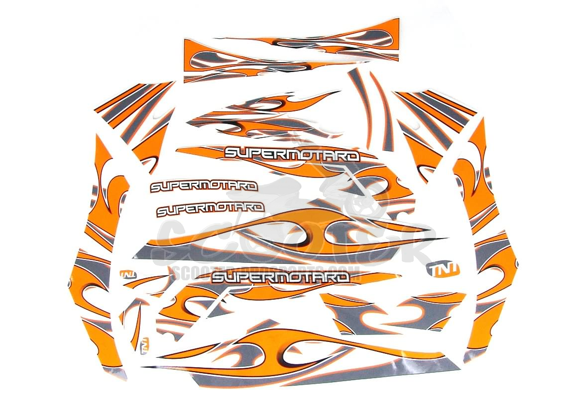 Karosserie Aufklebersatz Racing TNT Orange-grau - Derbi Senda Art.Nr.AC350010A