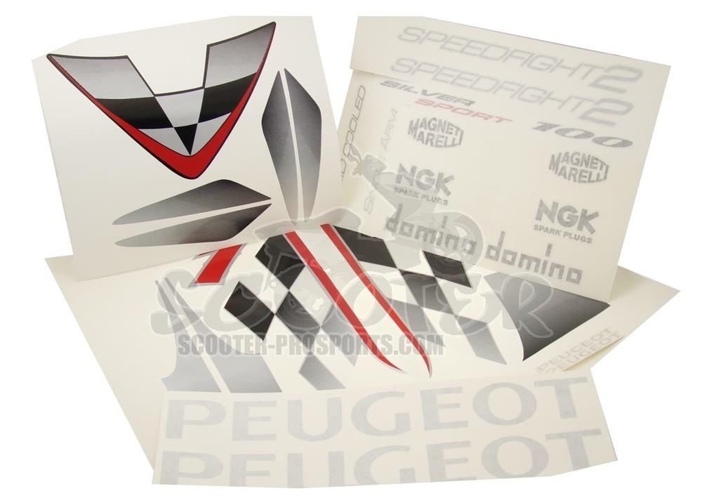 Peugeot Aufkleberset Silver Sport Scooter Prosports