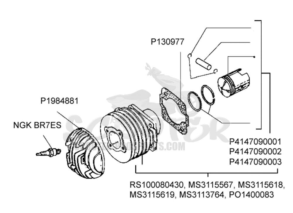 Zylinder und Kolben Vespa PX 200 √ Scooter-ProSports