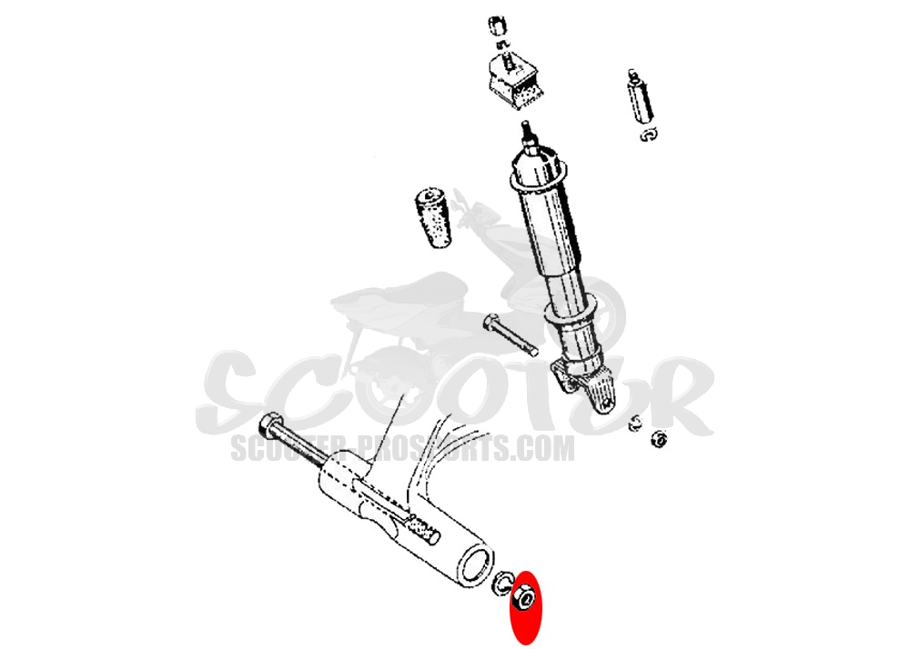 Mutter M14x1,25 mm original Piaggio - Atlantic - Scarabeo - Nexus - Fuoco - Beverly - MP3 - X9 - Vespa Cosa - PX - Rally - Sprint Art.Nr.P021214