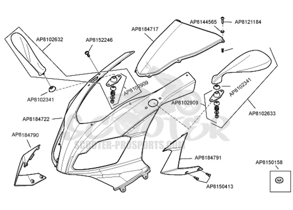 Aprilia Rs 125 Verkleidung vorn √ Scooter-ProSports